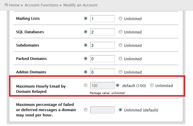 محدود کردن تعداد ارسال ایمیل یک اکانت در Directadmin