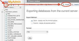 import و export کردن دیتابیس در phpmyadmin