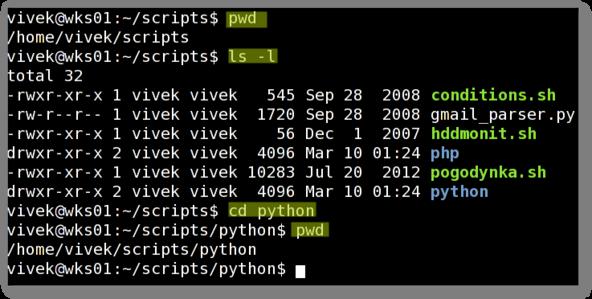 دستورات cd و pwd و ls و du برای مدیریت فایل