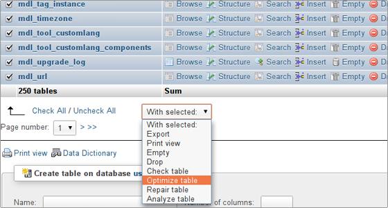 بهینه سازی و تعمیر دیتابیس از phpMyAdmin هاست