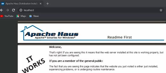 تست نصب وب سرور Apache